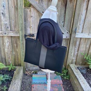 Vince Camuto black gray stripe luck tote bag